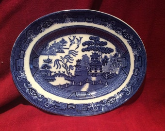 "Adderley Ware Old Willow Oval Serving Platter 11"" x 8 3/4"" circa 1930"