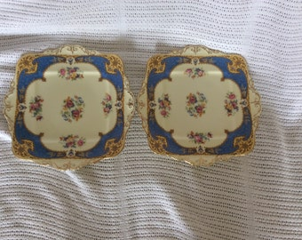 "Paragon Hamilton Blue 5.5"" Square Sandwich or Cake Plate 1940's Two Plates"