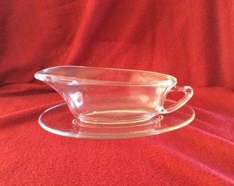 Pyrex JAJ Clear Glass Gravy Boat and Saucer