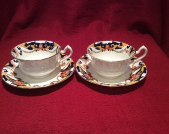 Samuel Radford Fenton Pottery Hand Painted circa 1930's Tea Cup and Saucer set of two