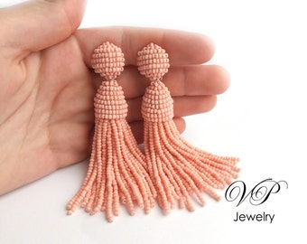 Peach Handmade Beaded Tassel Clip on Earrings in the style of Oscar de la Renta, approx 3.5 inch. Custom colors available