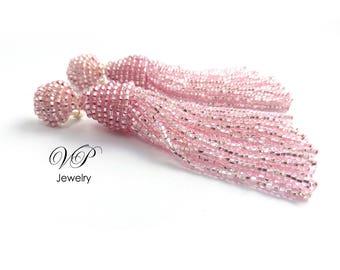 Luxurious Handmade Beaded Silver Lined Pink Tassel Clip on Earrings in the style of Oscar de la Renta. Custom colors available