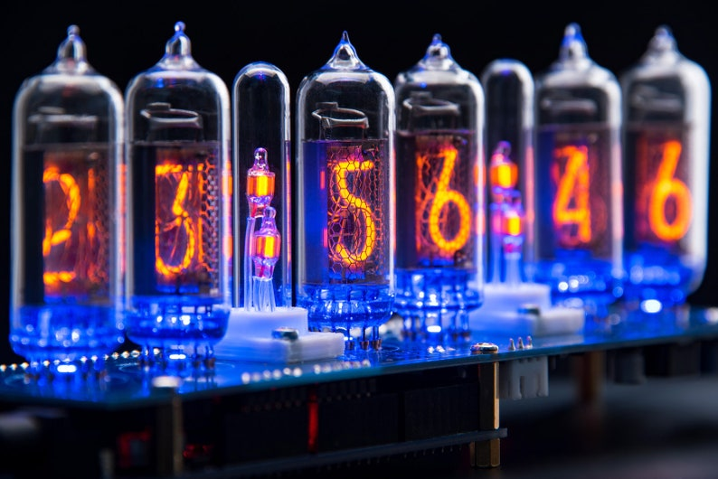 IN-14 Nixie Tubes Clock Arduino Shield NCS314 v2 2 + Glass Columns  (Optional: Remote, GPS, Temp ) [Ready-For-Use]