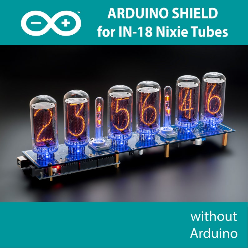 IN-18 Arduino Shield Nixie Tubes Clock NCS318 with Columns [TUBES OPTIONAL]