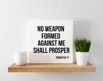 """Quote """" Isaiah 54:17 """" Perfect Canvas Wall Art For Home or Office  (12x12)"""
