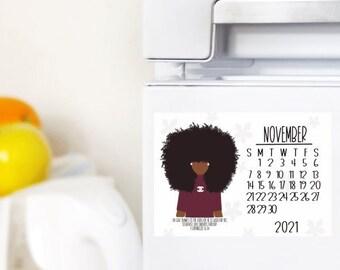 November/Calendar Magnet/Fall Decor/Home Decor/Dorm Decor/ Office Decor /Digital Illustration 4.25x5.5 /Laminated Magnet/1 Chronicles 16:34