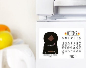 October/Calendar Magnet/Fall Decor/Home Decor/Dorm Decor/ Office Decor /Digital Illustration 4.25x5.5 /Laminated Magnet/Pslam46:5