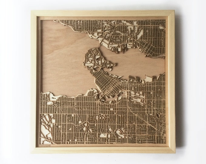 Vancouver Wooden Map - Pinewood Laser Cut Streets City Maps 3d Framed Minimal Minimalist Wall Art Wood - Birthday Christmas Wedding Gift