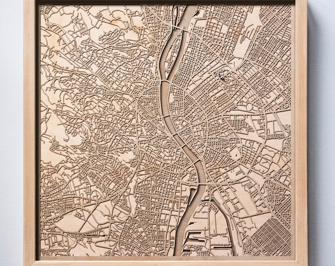 Budapest Wooden Map - Pinewood Laser Cut Streets City Maps 3d Framed Minimal Minimalist Wall Art Wood - Birthday Christmas Wedding Gift