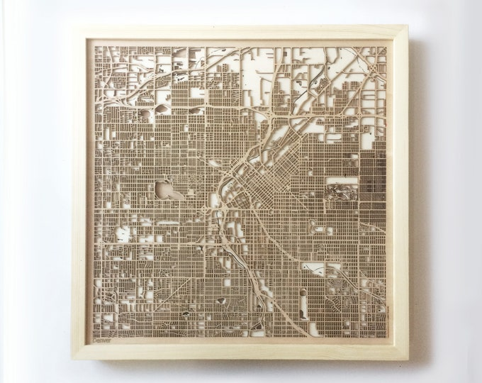 Denver Wooden Map -Laser Cut Wood Streets City Maps 3d Framed Minimal Minimalist Wall Art - Birthday Anniversary Christmas Wedding Gift