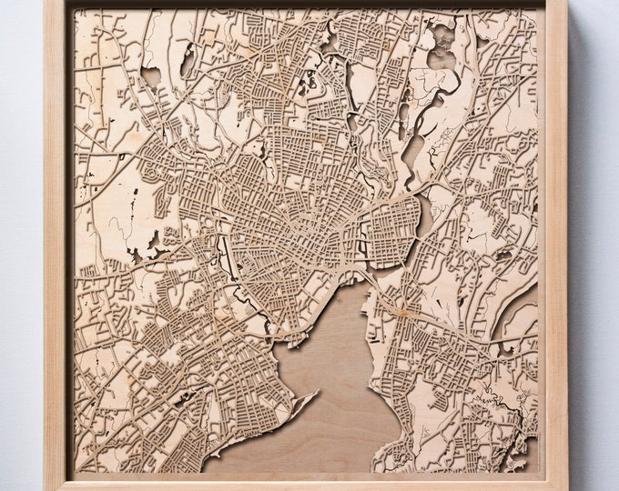 New Haven Wooden Map -Laser Cut Wood Streets City Maps 3d Framed Minimal Minimalist Wall Art - Birthday Anniversary Christmas Wedding Gift