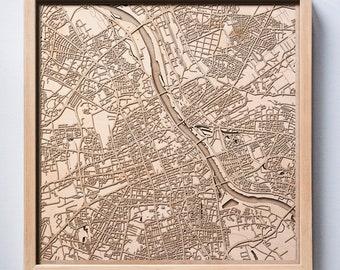 Warsaw Wooden Map - Pinewood Laser Cut Streets City Maps 3d Framed Minimal Minimalist Wall Art Wood - Birthday Christmas Wedding Gift