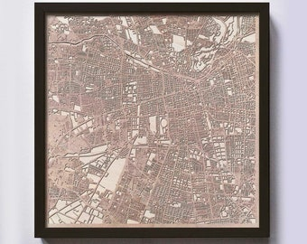 Santiago Wood Map - 5th Anniversary Gift - Custom Wooden Map Laser Cut Framed Maps Wall Art - Wedding Engagement Gift for Couple