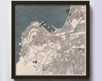 Cape Town Wood Map - Laser Cut Custom Map Streets City 3d Framed Wooden Maps Travel Wall Art - Birthday Christmas Gift Wedding Gifts