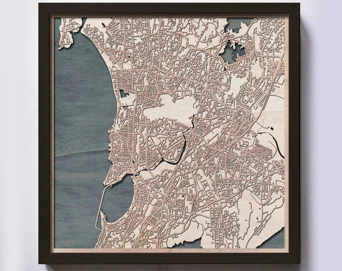 Mumbai Wood Map - 5th Anniversary Gift - Custom Wooden Map Laser Cut Framed Maps Wall Art - Wedding Engagement Gift for Couple