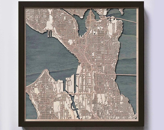 Seattle Wood Map - 5th Anniversary Gift - Custom Wooden Map Laser Cut Framed Maps Wall Art - Wedding Engagement Gift for Couple