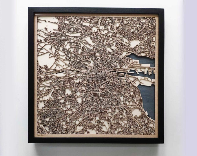 Dublin Wood Map - Laser Cut Custom Map Streets City 3d Framed Wooden Maps Travel Wall Art - Birthday Christmas Gift Wedding Gifts