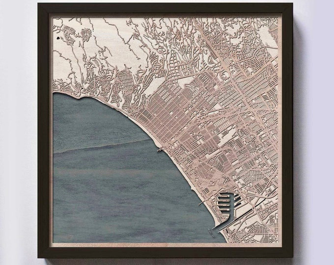 Santa Monica Wood Map - 5th Anniversary Gift - Custom Wooden Map Laser Cut Framed Maps Wall Art - Wedding Engagement Gift for Couple
