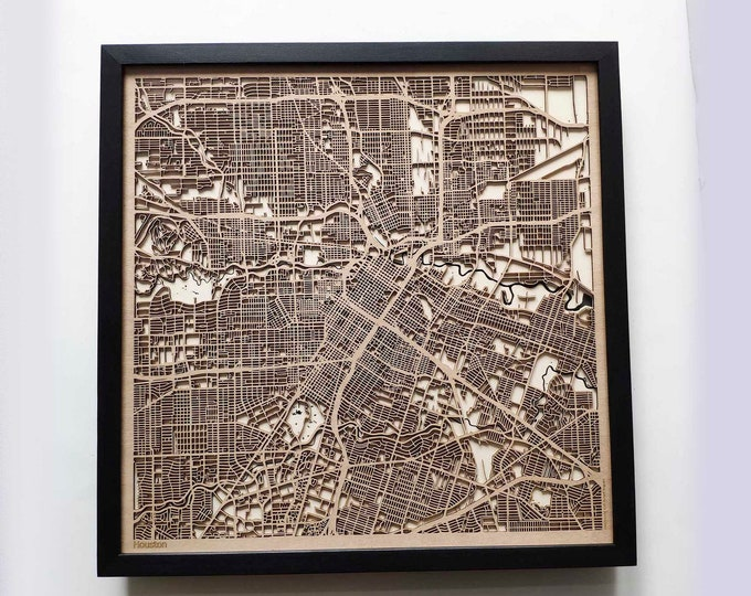 Houston Wood Map - 5th Anniversary Gift - Custom Wooden Map Laser Cut Framed Maps Wall Art - Wedding Engagement Gift for Couple