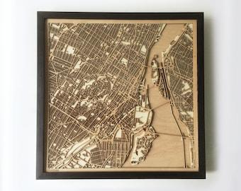 Montreal Wooden Map - Black Laser Cut Streets City Maps 3d Framed Minimal Minimalist Wall Art Wood - Birthday Christmas Wedding Gift