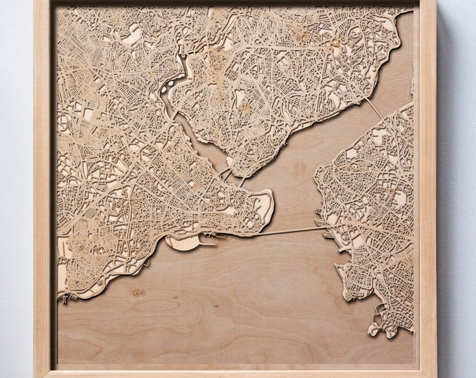 Istanbul Wooden Map -Laser Cut Wood Streets City Maps 3d Framed Minimal Minimalist Wall Art - Birthday Anniversary Christmas Wedding Gift