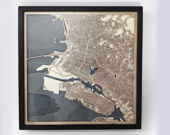 Oakland Wood Map - Laser Cut Custom Map Streets City 3d Framed Wooden Maps Travel Wall Art - Birthday Christmas Gift Wedding Gifts