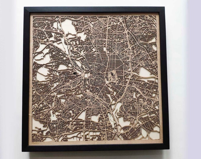 Madrid Wood Map - Laser Cut Custom Map Streets City 3d Framed Wooden Maps Travel Wall Art - Birthday Christmas Gift Wedding Gifts