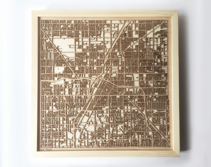 Las Vegas Wooden Map -Laser Cut Wood Streets City Maps 3d Framed Minimal Minimalist Wall Art - Birthday Anniversary Christmas Wedding Gift
