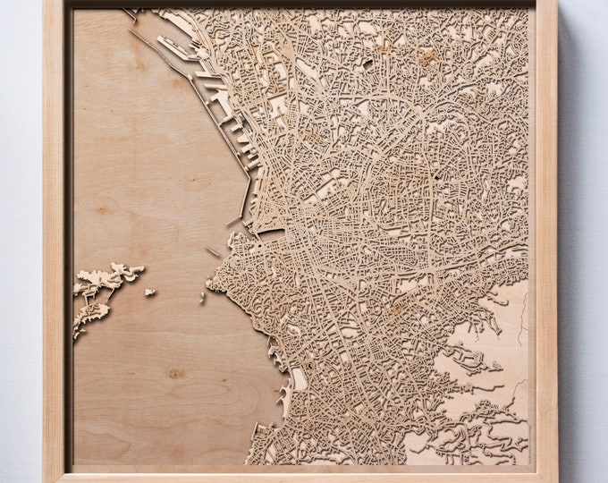 Marseille Wooden Map - Laser Cut Wood Streets City Maps 3d Framed Minimal Minimalist Wall Art - Birthday Anniversary Christmas Wedding Gift