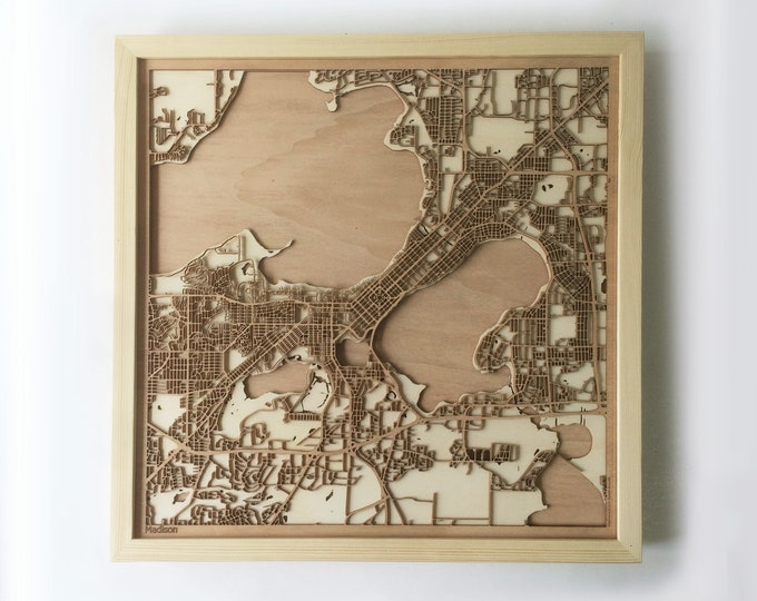 Madison Wooden Map -Laser Cut Wood Streets City Maps 3d Framed Minimal Minimalist Wall Art - Birthday Anniversary Christmas Wedding Gift