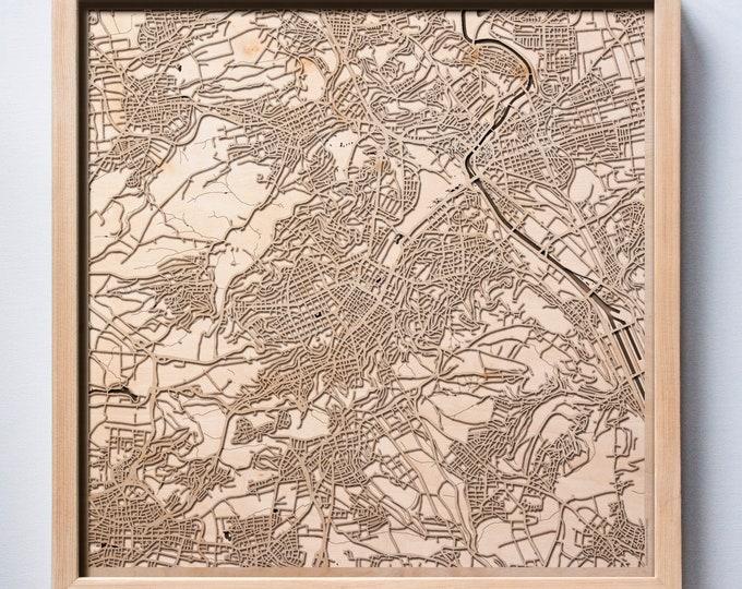 Stuttgart Wooden Map -Laser Cut Wood Streets City Maps 3d Framed Minimal Minimalist Wall Art - Birthday Anniversary Christmas Wedding Gift