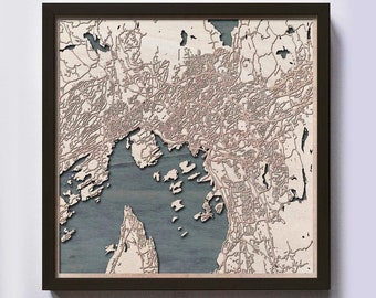 Oslo Wood Map - Laser Cut Custom Map Streets City 3d Framed Wooden Maps Travel Wall Art - Birthday Christmas Gift Wedding Gifts