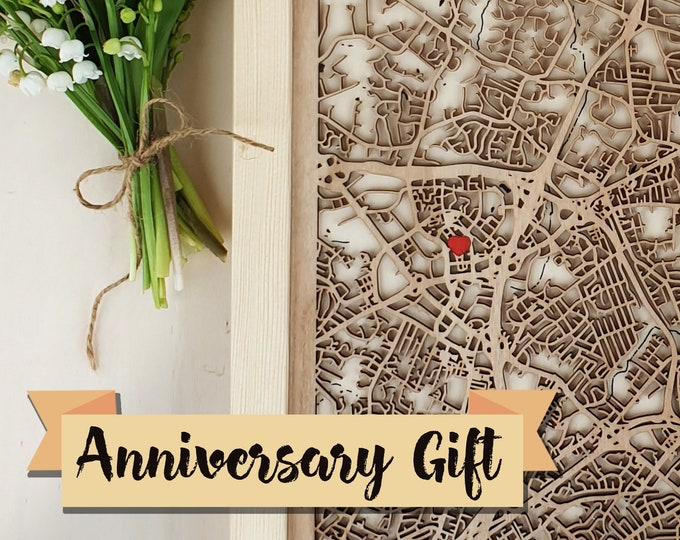 5th Anniversary Gift - Custom Wood Map, World Wedding Gift Engagement Gift for Couple,Laser Cut Wooden Anniversary Gift for Parent Craftsman