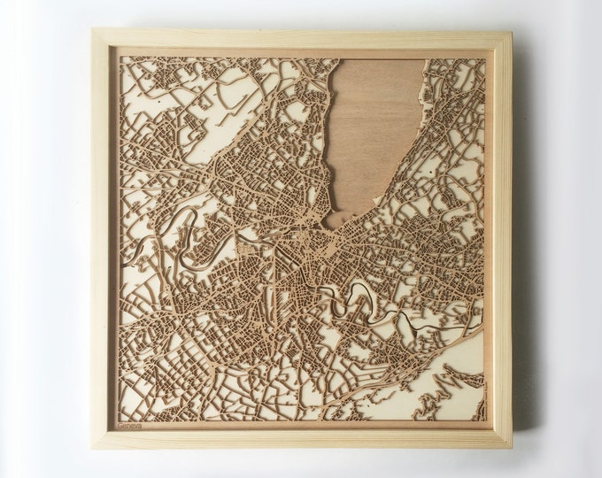 Geneva Wooden Map - Pinewood Laser Cut Streets City Maps 3d Framed Minimal Minimalist Wall Art Wood - Birthday Christmas Wedding Gift