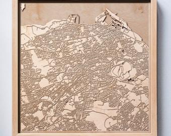 Edinburgh Wooden Map -Laser Cut Wood Streets City Maps 3d Framed Minimal Minimalist Wall Art - Birthday Anniversary Christmas Wedding Gift
