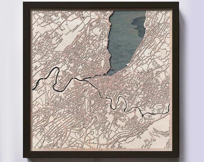 Geneva Wood Map - 5th Anniversary Gift - Custom Wooden Map Laser Cut Framed Maps Wall Art - Wedding Engagement Gift for Couple