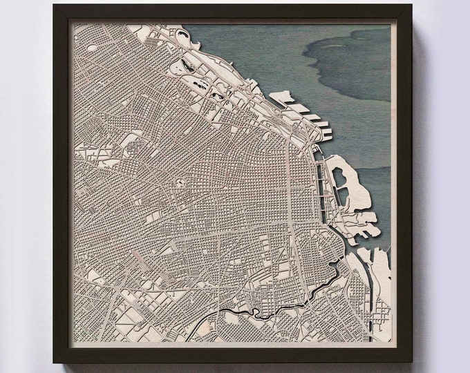 Buenos Aires Wood Map - Laser Cut Custom Map Streets City 3d Framed Wooden Maps Travel Wall Art - Birthday Christmas Gift Wedding Gifts