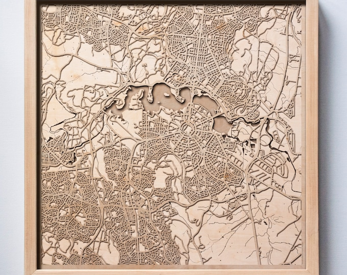 Canberra Wooden Map - Pinewood Laser Cut Streets City Maps 3d Framed Minimal Minimalist Wall Art Wood - Birthday Christmas Wedding Gift