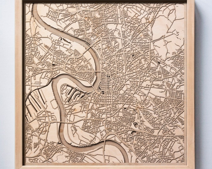 Dusseldorf Wooden Map -Laser Cut Wood Streets City Maps 3d Framed Minimal Minimalist Wall Art - Birthday Anniversary Christmas Wedding Gift