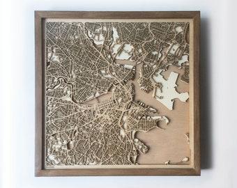 Boston Wooden Map - Walnut Laser Cut Wood Streets City Maps 3d Framed Minimal Minimalist Wall Art -Birthday Christmas Wedding Gift