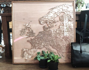 Europe Wooden Map - Pinewood Laser Cut Streets City Maps 3d Framed Minimal Minimalist Wall Art Wood - Birthday Christmas Wedding Gift