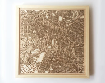 Santiago Wooden Map -Laser Cut Wood Streets City Maps 3d Framed Minimal Minimalist Wall Art - Birthday Anniversary Christmas Wedding Gift
