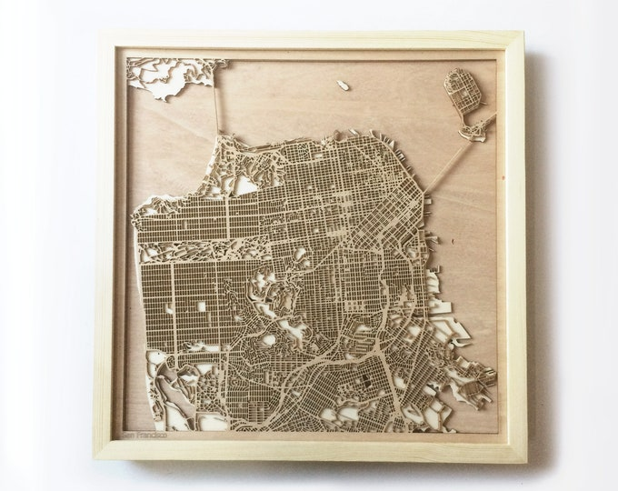 San Francisco Wooden Map - Pinewood Laser Cut Streets City Maps 3d Framed Minimal Minimalist Wall Art Wood - Birthday Christmas Wedding Gift