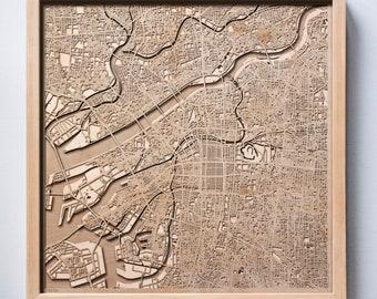 Osaka Wooden Map -Laser Cut Wood Streets City Maps 3d Framed Minimal Minimalist Wall Art - Birthday Anniversary Christmas Wedding Gift