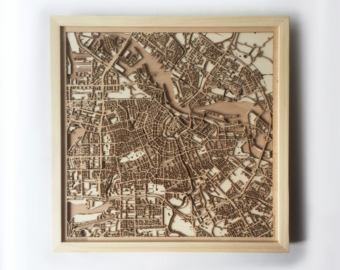Amsterdam Wooden Map -Pinewood  Laser Cut Wood Streets City Maps 3d Framed Minimal Minimalist Wall Art - Birthday Christmas Wedding Gift