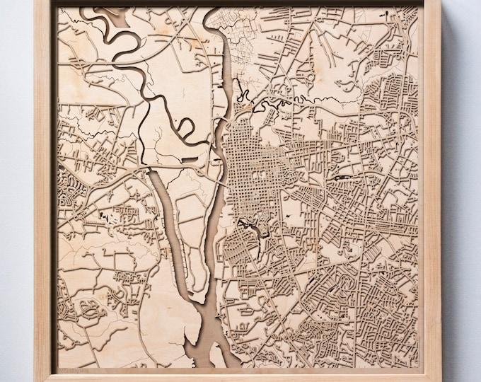 Wilmington Wooden Map - Pinewood Laser Cut Streets City Maps 3d Framed Minimal Minimalist Wall Art Wood - Birthday Christmas Wedding Gift
