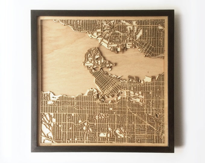Vancouver Wooden Map - Black Laser Cut Streets City Maps 3d Framed Minimal Minimalist Wall Art Wood - Birthday Christmas Wedding Gift