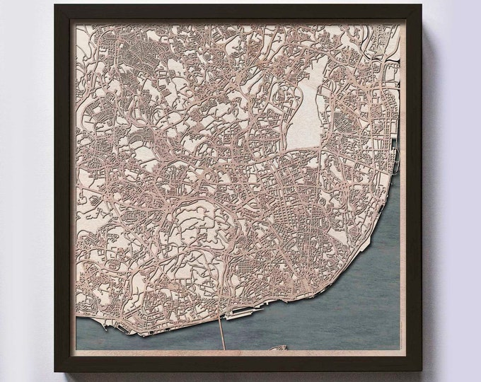 Lisbon Wood Map - Laser Cut Custom Map Streets City 3d Framed Wooden Maps Travel Wall Art - Birthday Christmas Gift Wedding Gifts