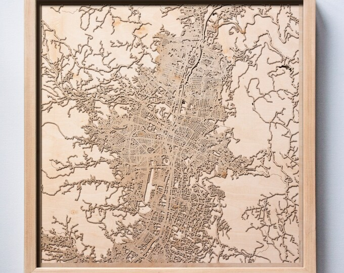 Medellín Wooden Map - Pinewood Laser Cut Streets City Maps 3d Framed Minimal Minimalist Wall Art Wood - Birthday Christmas Wedding Gift