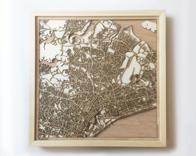 Singapore Wooden Map -Laser Cut Wood Streets City Maps 3d Framed Minimal Minimalist Wall Art - Birthday Anniversary Christmas Wedding Gift